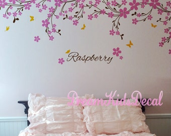 Wall decal baby girl and name wall decals cherry blossoms Nursery wall sticker wedding office-Pink vines with Butterfly decals-DK114