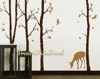 Woodland Wall decal, nature wall decals, vinyl wall decals, wall stickers, Deer, birch tree, nursery wall stickers-Deer in forest-DK042