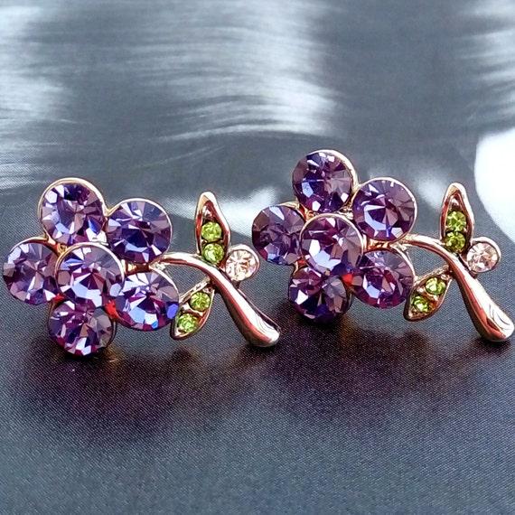 Flower crystal earrings, purple crystal flower earrings, gift, stud earrings, flower stud earrings