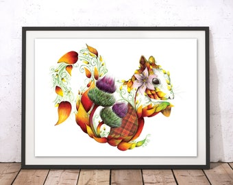 Floral Squirrel Print, Flowers Squirrel Art Print, Colorful Red Squirrel Poster, Scottish Squirrel Illustration Art by Kat Baxter