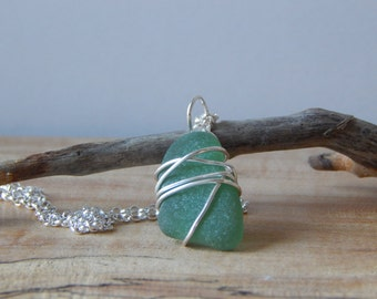 """Small Sea Glass Pendant Necklace, Wire Wrapped, Beach Glass, Ocean Jewelry, Ocean Necklace, Sea Beach Glass, 18"""" Sterling Silver Necklace"""