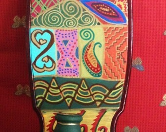 """Hand Painted Bohemian  Wood Wall Sconce Candle Holder For Home or Office 20.5""""Hx6""""Wx.5""""D  W0093"""