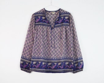 Dahlia Cotton Shirt // vintage 70s INDIAN gauze blouse 1970s deadstock INDIA Bohemian floral hippie Gypsy shirt festival tunic Size S Small