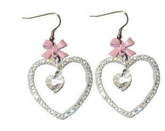 pink heart earrings with heart crystal drop