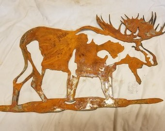 16 inch Bull Moose Metal Rough Rusty Wall Art Ornament Stencil Cabin Wildlife Deer Alaska Yukon Craft Sign