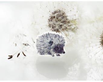 Hedgehog brooch,  hedgehog,  hedgehog pin,  animal pin,  gift animal lover, black white, accessory drawing