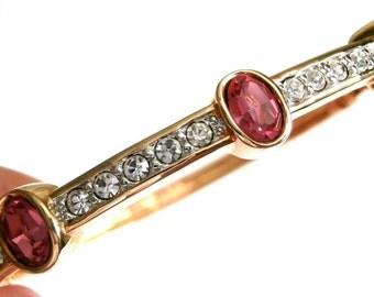 Signed Swarovski Bracelet Gold Plated w/Rose & Pave Crystals New S.A.L.Logo (D)
