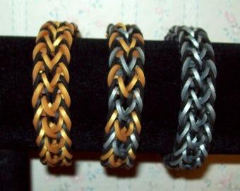Rainbow Loom Rafyael Style Rubber Band Bracelet - Choice of Gold and Silver Color Combinations