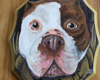 Pitbull painting on scalloped wood piece