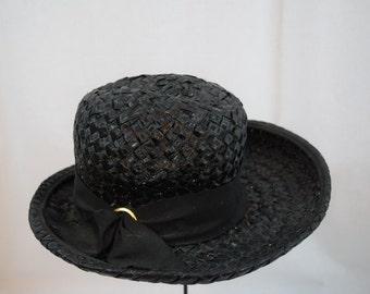 Vintage 1960s black raffia straw woven hat with ribbon trim