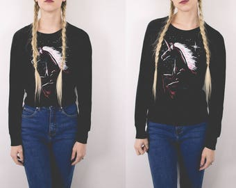 50% OFF CLEARANCE Vintage DEADSTOCK Unicorn 80s Dolman Top Long Sleeve Graphic Tee Small Medium T shirt