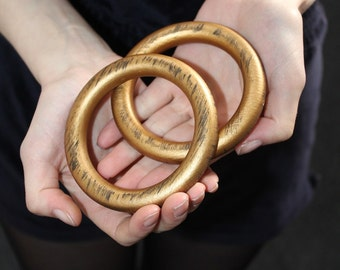 Gold brass wood glamour indie punk boho oversize bangles bracelets x2 pair gold