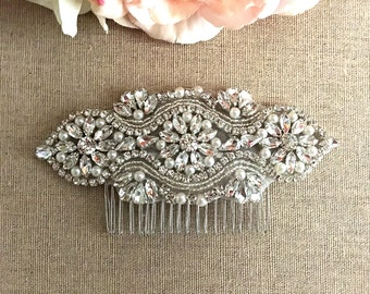 Bridal Hair Comb- Rhinestone and Pearl Bridal Hair Comb- Bridal Headpiece- Rhinestone Bridal Comb