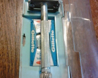 Gillette razor, case, and blades