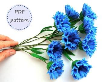 Felt Cornflower, Cornflower Pattern, Felt Pattern, Felt Cornflower Pattern, Felt Flowers, Felt Flowers Pattern, Cornflower Bouquet
