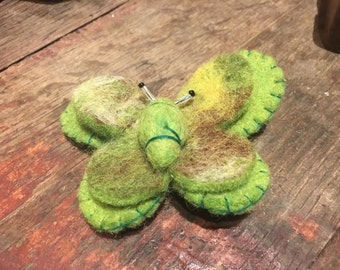Handmade Felt Butterfly Pin Brooch in Green