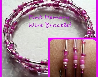 Memory Wire, Charity, Memory Wire Bracelet, Pink Memory Wire Bracelet (OneOfAKind)