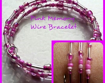 Memory Wire, Jewelry For Charity, Memory Wire Bracelet, Pink Memory Wire Bracelet (OneOfAKind)