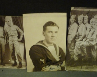 Real Life Black And White Photos of Servicemen - one sailer and two Army
