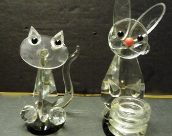 50% OFF -  GLass Gem Cat and Rabbit on black bases and black eyes