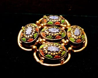 Sarah Coventry pin/brooch patchwork flower design - Persian enamel look