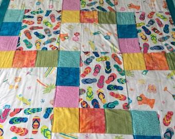 Beach quilt, flip flop quilt, summer blanket, baby quilt, childs quilt