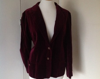 Plum velvet single breasted blazer jacket UK size 16-18