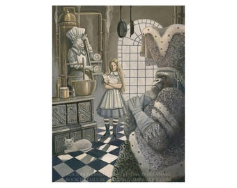 "Alice in the Kitchen (Unframed 18""x24"" Giclée Print) Art  by David Delamare (Alice in Wonderland by Lewis Carroll)"