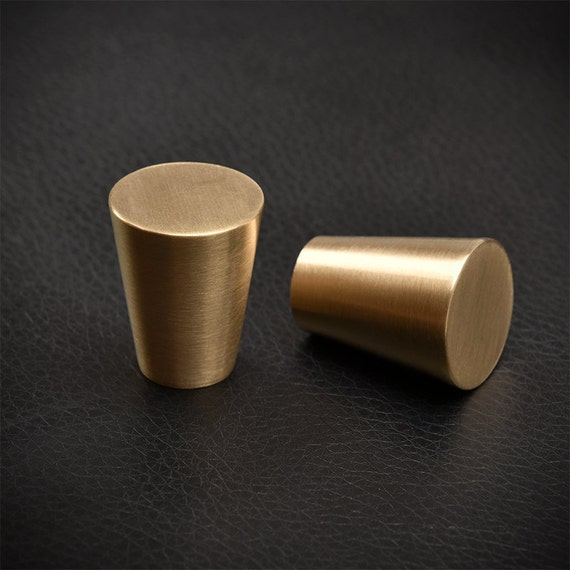 satin brass cabinet knob drawer pull with