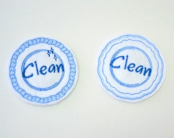 Embroidered Clean/Dirty Dishwasher Magnet |Reversable |Home Decor |Kitchen  | Magnets |Handmade |Made in USA |clean/dirty |housewarming