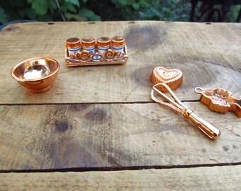Vintage Barbie Kitchen Accessories - Barbie Kitchen Canisters - Copper Colored Plastic Barbie Kitchen Accessories