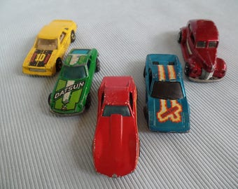 Vintage Hot Wheel Car Lot, Toy Cars/ Vehicles, Race Cars, Corvette Stingray, 1940 Ford, Mirader Stocker, Played With Condition, 1970s 1980s