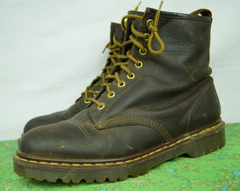 Vintage Doc Marten Eight-Hole Brown Boots - 1460s - Size 9 UK, 11 women's US, 10 men's US - Made in England - D212