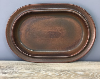 "Arabia Finland Ruska 14"" Oval Serving Platter, Vintage Scandinavian Tableware, Designed by Ulla Procope"