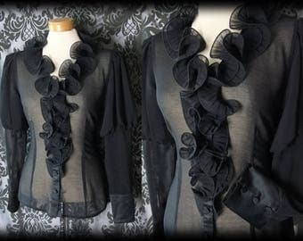 Goth Black Sheer Frill STRICT GOVERNESS Deep Cuff Blouse 8 10 Steampunk Vintage
