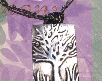 Handcut Embossed Oxidized Sterling Silver Tree Riveted Pendant Three Strand Sterling Satellite Chain Necklace Boho Woodland