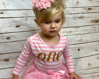 Baby girl first birthday outfit | 1st Birthday Girl Outfit Dress | first birthday outfit girl | One year old | Pink Striped Dresses