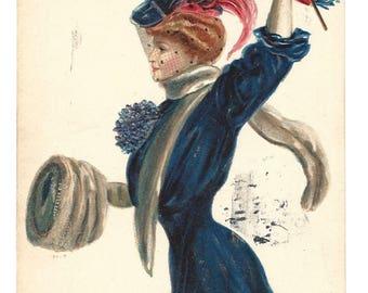Vintage Postcard - F Earl Christy - Embossed U Penn - EAS - Made in Germany - 1909