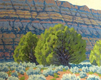 Utah Tapestry - original landscape painting - plein air - tree painting - southwestern decor - desert painting - impressionist - western art