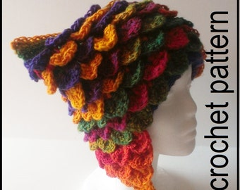 Pattern Tutorial 12-minute VIDEO Instructions + Dragon Hat Pattern Download pdf Not the finished item.