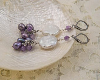 Cluster Earrings with Amethyst and Coin Pearls