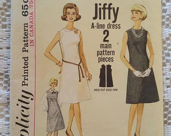 Vintage 60s A-Line One Piece Dress or Jumper Sewing Pattern Simplicity 5508 Cut Counted Complete Simple to Sew Jiffy