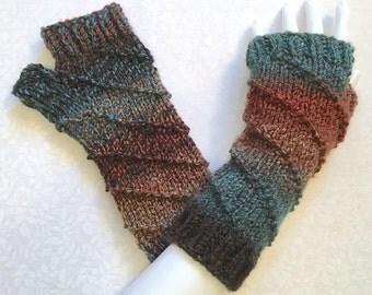 Knit Fingerless Gloves, Office Gloves, Fingerless Hand Warmers, Unique Spiral Design, Woodlands color medley