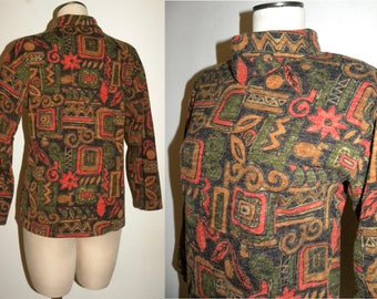 1970's 80s Turtleneck Sweater / Top / tribal print / earth tones / Boho / Bohemian / women fits M/L