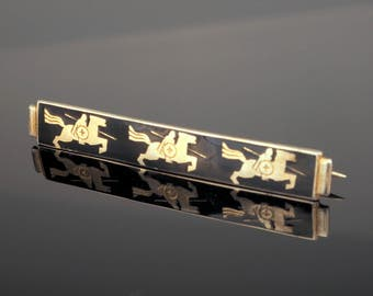 Silver Art Deco Brooch with Knights on Horseback and Black Enamel