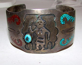 Native American Old Pawn Navajo Sterling Silver Kingman Mine Turquoise Coral Inlay Kachina Cuff Bracelet 50gr Rare
