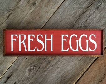 Country Farmhouse Decor, Wood Sign, Shabby Chic, Cottage, Salvaged Wood Sign, Kitchen Decor, Indoor/ Outdoor Signs, Fresh Eggs, Stenciled