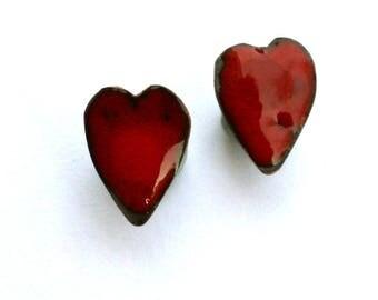 Red enamel heart stud earrings