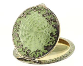 Antique Austrian Enamel Compact, Sterling Silver Gilt Enamel Guilloche Compact, Vintage Gold Wash Green Enameled