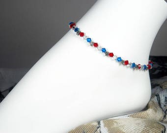 "Crystal Ankle Bracelet, Red White and Blue, Patriotic Anklet, Swarovski Crystal, Girls Sizes, Plus Sizes, 8"", 9"", 10"", 11"", 12"", 13"""